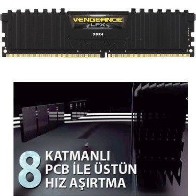 CORSAIR 16GB (2x8) Vengeance LPX 3200 MHz CL16 DDR4 Masaüstü Siyah Ram