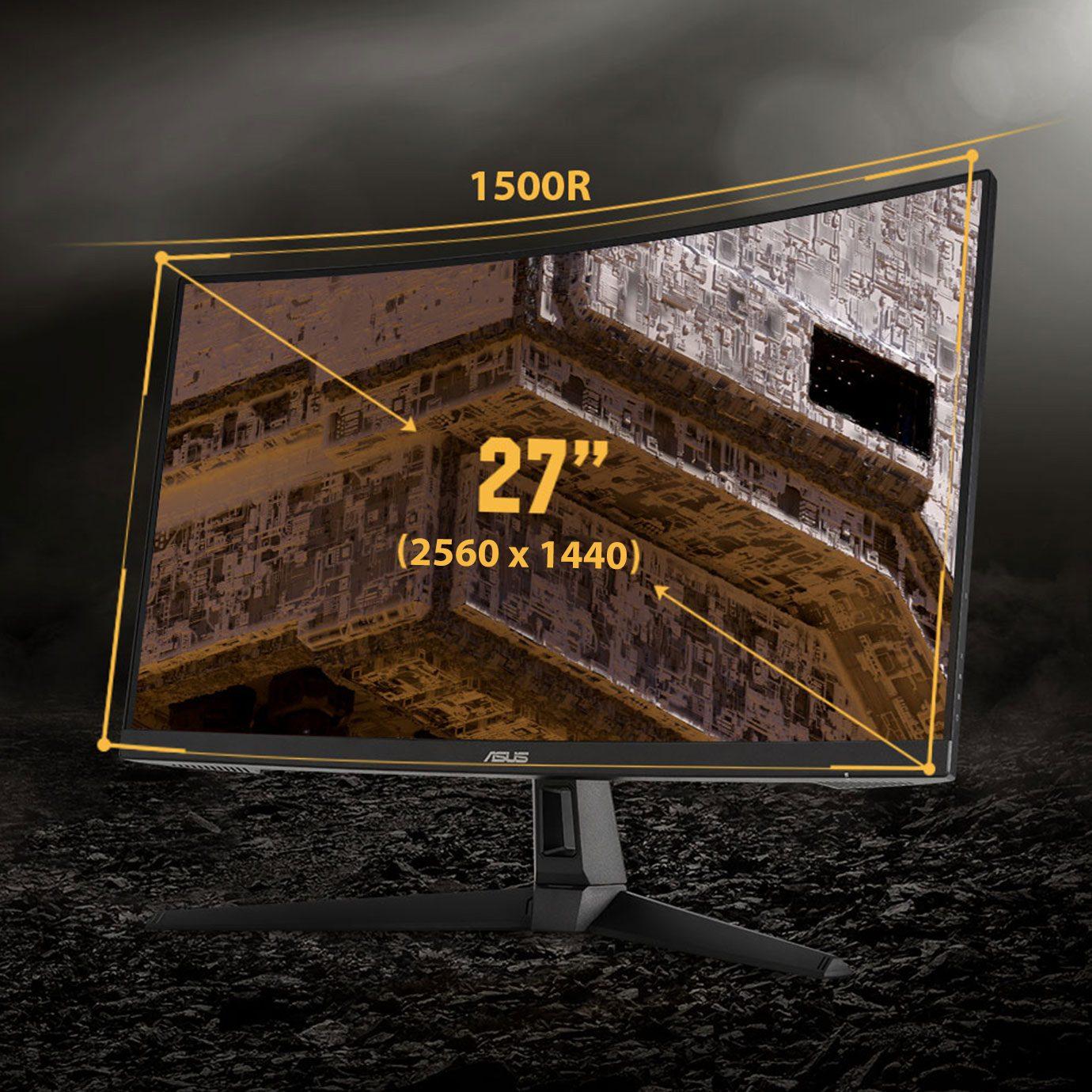 "ASUS VG27WQ1B 27"" 2560x1440 WQHD 165Hz 1ms HDMI DP HDR10 Freesync Premium Kavisli Gaming Monitör"