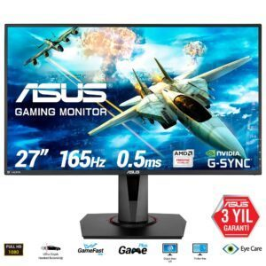 ASUS VG278QR 27″ 165Hz 0.5ms DVI-D HDMI DP Freesync ve G-sync Uyumlu Gaming Monitör - Monitör 3