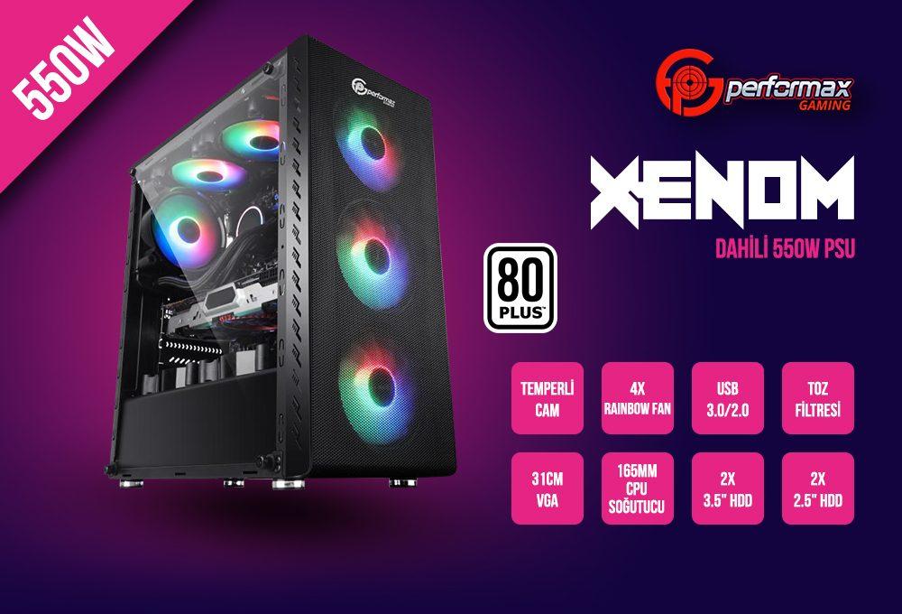 performax xenom siyah rainbow atx 550w 80 kasa 12743 - Performax Xenom Siyah Rainbow ATX 550W 80+ Kasa
