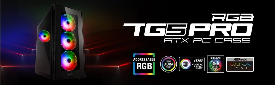 Sharkoon TG5 PRO RGB Tempered Glass RGB USB 3.0 ATX Mid Tower Kasa